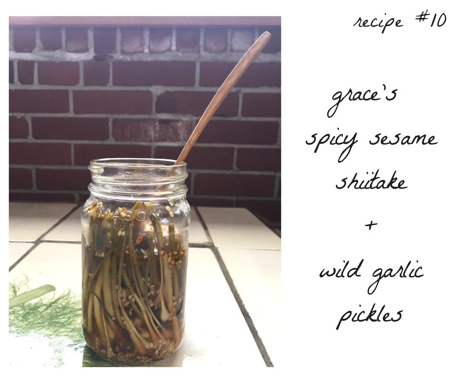 spicy sesame shiitake + wild garlic pickles